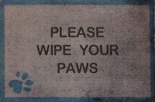 Brown Please Wipe Your Paws with a Paw Print 50cm x 75cm Washable Door Mat