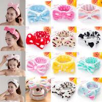 Big Bow tie Dot Striped Soft Towel Hair Band Head Wrap Headband Bath SPA Make Up
