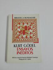 Livre ESSAIS NON PUBLIÉS Kurt Gödel,Edition a chargement F Rodriguez Consuegra