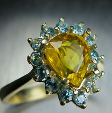 1.75cts Natural Yellow Sapphire & blue zircons 10k 9ct 375 yellow gold ring