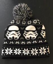 Disney Star Wars Storm Troppers Black White Winter Cap Hat Knit Beanie Pom Pom
