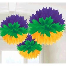 Mardi Gras Hanging Fluffy Purple Green Yellow Party Decorations Honeycomb