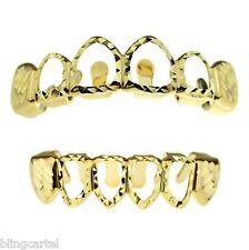 Diamond-Cut Grillz Set 14k Gold Plated Top & Bottom Teeth 4 Open Hip Hop Grills