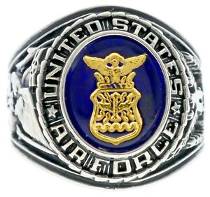 US Air Force Men's Ring 6 CT Simulated Blue Sapphire Platinum Overlay Size 8 T68