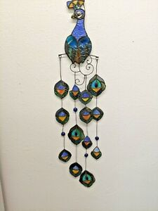 River of Goods Tiffany Style Stained Glass Peacock Bird Wall Hanging Sculpture