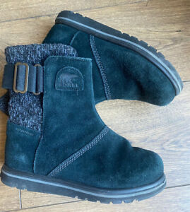 Sorel Black Suede Comfort Ankle Boots 5.5 38.5