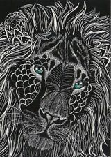 Lion King of the Zentangle ACEO Fantasy Cat Scratch Art Card giclee black ATC