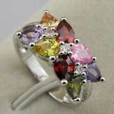 nobby nice multi-color cz gems Women's gold filled ring rj782 size 6 8.5 9