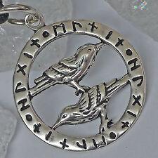 Wikinger Runenkreis Anhänger 925 Silber Odins Raben Hugin und Munin Lederschnur