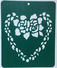 "STENCILFLEXI VINYL/TEMPLATE ""HEART of ROSES Lg size 21cm x17cm Made in Australia"
