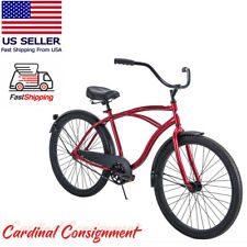 "Huffy 26"" Cranbrook Beach Cruiser Comfort Bike for Men, Red - New in Box"