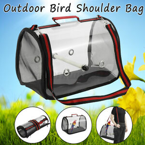 Red Parrot Bird Carrier Backpack Travel Outdoor Transport Cage Breathable Bag