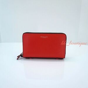 NWT New Michael Kors Men's Gifting Money Bag Wallet Double Zip Leather Ruby Red