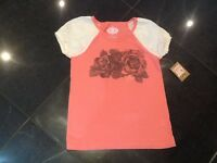 NWT Juicy Couture New & Gen. Girls Age 8 Peach Short Sleeved T-Shirt With Logo