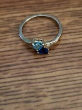 Two blue gem 925 ring size 9-10