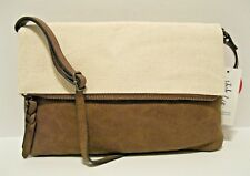 bfb28ffec1140 Style  co  79 NWT Canvas Crossbody Bag Tan Brown Faux Leather Flap Zip  Pocket