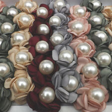 Big Size Imitation Pearl Ring Flower Designed Cloth Rings 50pcs/lot Mix Color