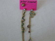 Betsey Johnson Gold Tone Gold Tone Snake and Leaf Mismatched Earrings