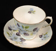 Queen Anne cup saucer BC blue flowers green leaves scalloped gold trim England