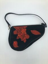 Christian Dior Saddle Beads Spangle Hand Bag Red Black Embellished Roses