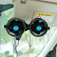 """Dual Head DC 12V 4.5"""" Car Vehicle Cooling Fan w/Clip Stepless Speed Regulation"""