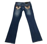 Miss Me Womens Boot Cut Jeans Blue Dark Wash Cowhide Back Pockets Zip 28