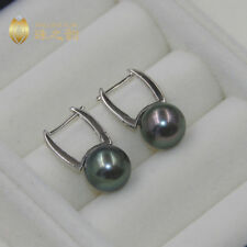 Stunning AAA 10-11mm Real natural Tahitian black round pearl earrings 925 silver