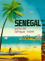 Senegal porte de Afrique Africa Vintage African Travel Advertisement Poster