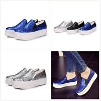 Women's  Sequins Bling Round Toe Platform Loafers Casual Slip on Shoes Sneakers