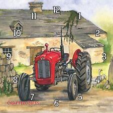 "Red Ferguson tractor by Sue Podbery Handmade Wall Clock 19.6cm 8"" / 28.5cm 11"""