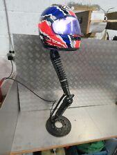 bespoke floor standing motorcycle shockers and arai helmet lamp colour changing