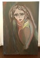 """Original Oil Painting On Canvas. """"Shy Girl In Love"""" By an Iraqi Artist"""