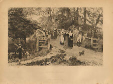 School Belles, Romance, Fishing, by Fred Morgan, Vintage, 1889 Antique Print.