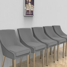2X EssenzimmerStuhl Stoff Leinenstuhl Grau Küchenstuhl Arbeitszimmer Metallbein