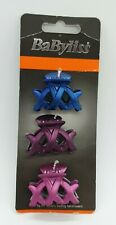 Babyliss Ladies Hair Claws,Clamps x 3 - 4 Cm,Metallic,BLUE,PURPLE,PINK,FREE P&P