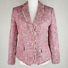 Banana Republic Womens Blazer 6 Cotton Tweed Red Cream Navy Fringe Career Jacket