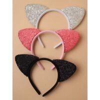 NEW SPARKLY GLITTER CAT EARS KITTEN ALICE HEAD HAIR BAND FANCY DRESS HEN DO