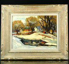 FINE c1930 CANADIAN WINTER REFLECTIONS LANDSCAPE OIL PAINTING BY HAROLD STACEY