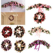 Silk Rose Flower Mirror Wall Door Wreath Wedding Rattan Leaves Blossom Garland