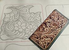 Leather craft Patterns DIY Designs Long Wallet Paper Template Drawing Tools CL16