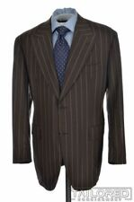SARTORIA PARTENOPEA Brown Striped 100% Wool Jacket Pants SUIT - EU 54 / US 42 R