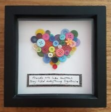 Handmade Personalised Button Picture Frame Mum Nan Friend Auntie Sister Love