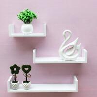 Set of 3 U White Shape shelves Floating Wall Shelves Home Decor Storage Wood UK