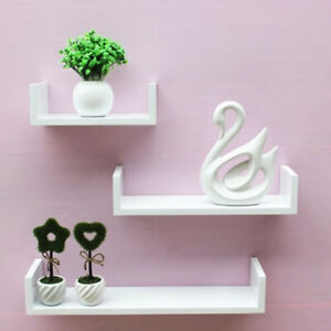 Set of 3 U White Shape shelves Floating Wall Shelves Home Decor Storage Wood UK