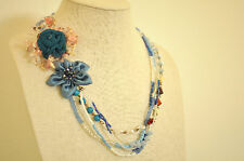 Multi Strand Necklace Blue Sequin Floral Crystal Stone Chain Upcycled Handmade