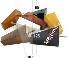 4x REPLACEMENT WOOD FURNITURE SOFA LEGS M8(8mm) CHAIR - SETTEE FEET 125mm HIGH