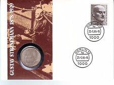Numisbrief Gustav Stresemann 1878-1929 + 5 DM Silbermünze von 1978