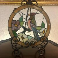Vintage Stained Glass Woodpecker Round Window Panel Handcrafted Tiffany Style