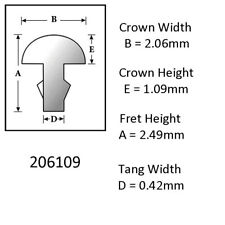 Sintoms 18% Nickel Silver Fret Wire 2.0mm. Set of 6 straight pieces