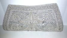 Elegant Hand Beaded Rhinestone Silver Discovery Women's Purse with Beaded Strap